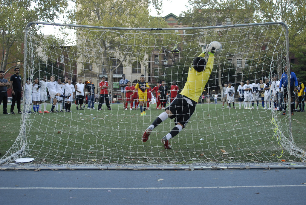 Sal Melendez blocks penalty for the FC HARLEM win!!